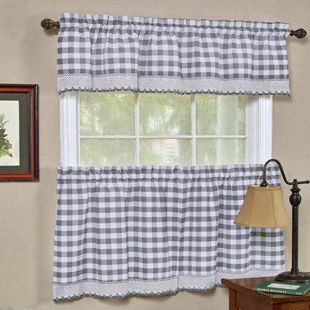 country chic plaid complete kitchen curtain set grey. Black Bedroom Furniture Sets. Home Design Ideas