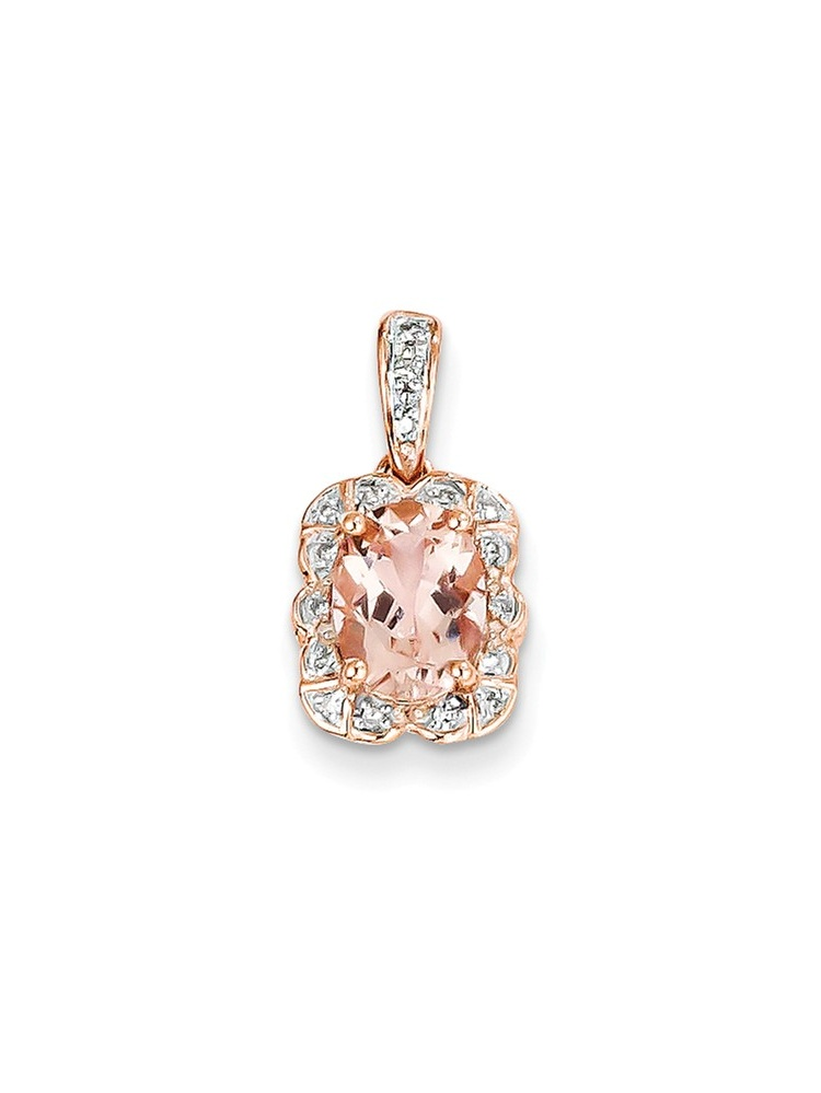 ICE CARATS 14kt Rose Gold Diamond Pink Morganite Pendant Charm Necklace Gemstone Fine Jewelry Ideal Gifts For Women Gift... by IceCarats Designer Jewelry Gift USA
