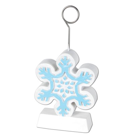 Pack of 6 Blue and White Snowflake Photo or Balloon Holder Christmas Decorations 6 oz. - Blue Snowflakes Decorations