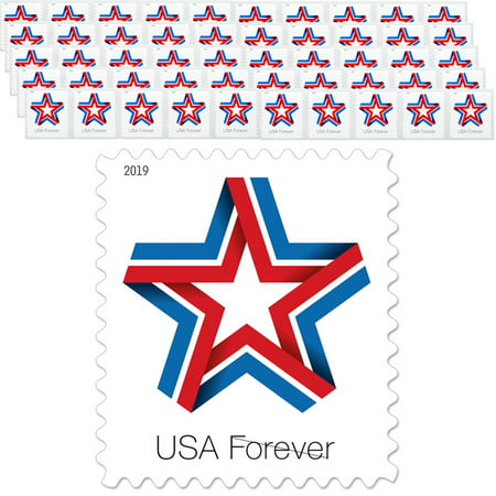 Star Ribbon Strip of 50 USPS First Class Forever Postage Stamps Patriotic Flag Wedding Celebration (50 Stamps)
