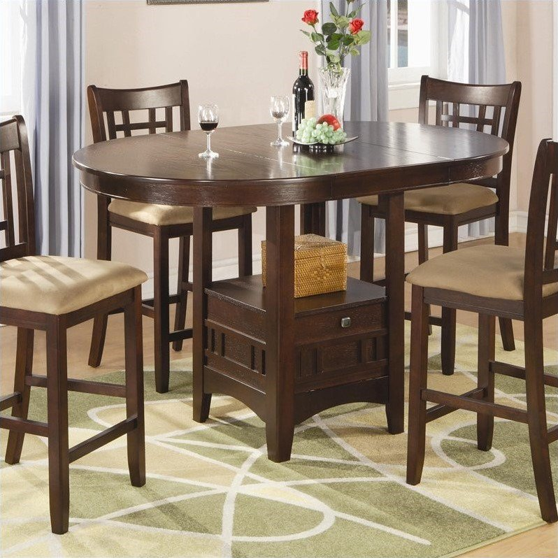 Coaster Company Lavon Dining Table in Warm Brown, Counter Height Table