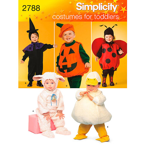 Simplicity Pattern Lamb/Chick/Witch/Pumpkin/Ladybug Toddler Costumes, (1/2, 1, 2, 3, 4)