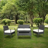 Zimtown Wicker Rattan Furniture 4PCS Outdoor Patio Garden Chat Set