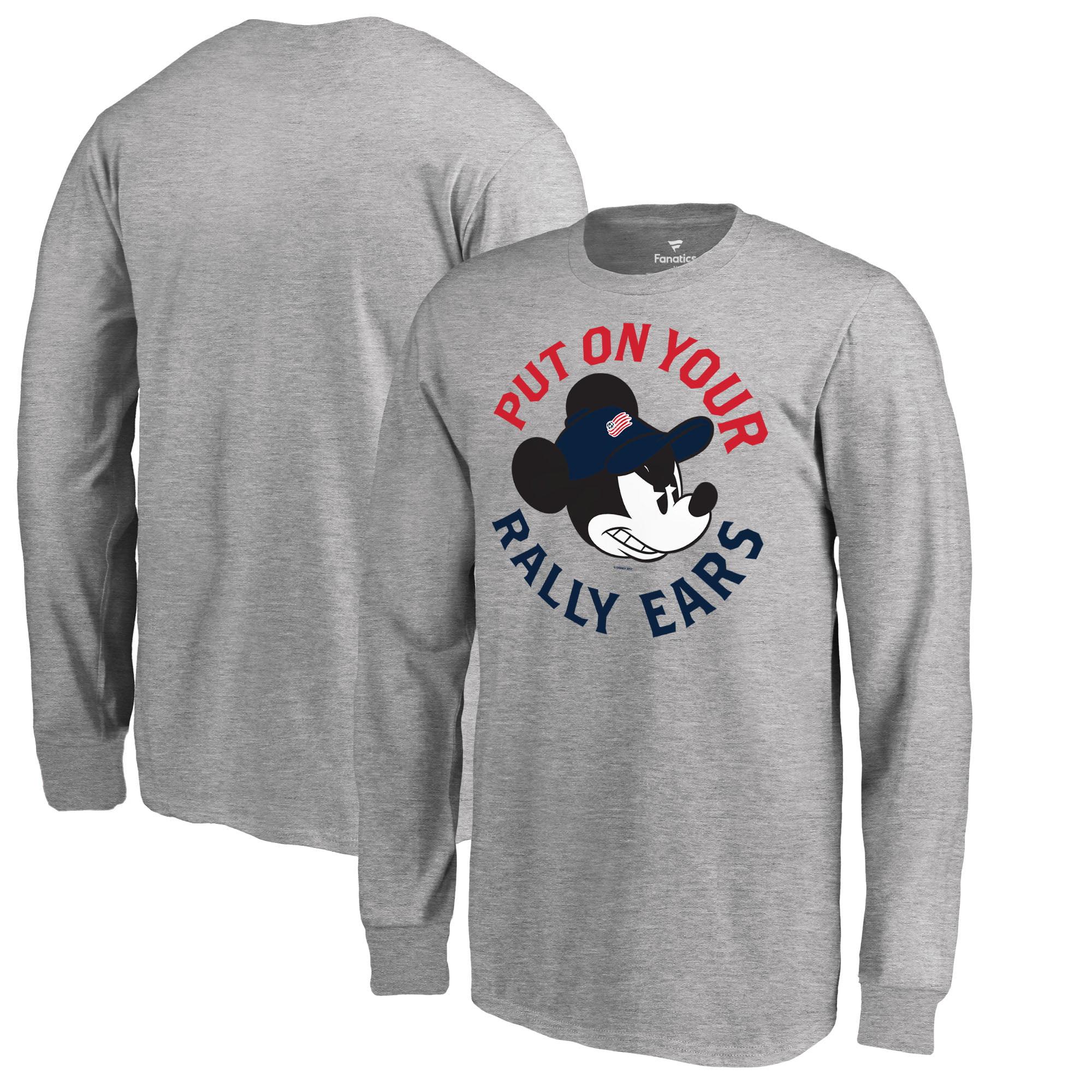 New England Revolution Fanatics Branded Youth Disney Rally Ears Long Sleeve T-Shirt - Heathered Gray