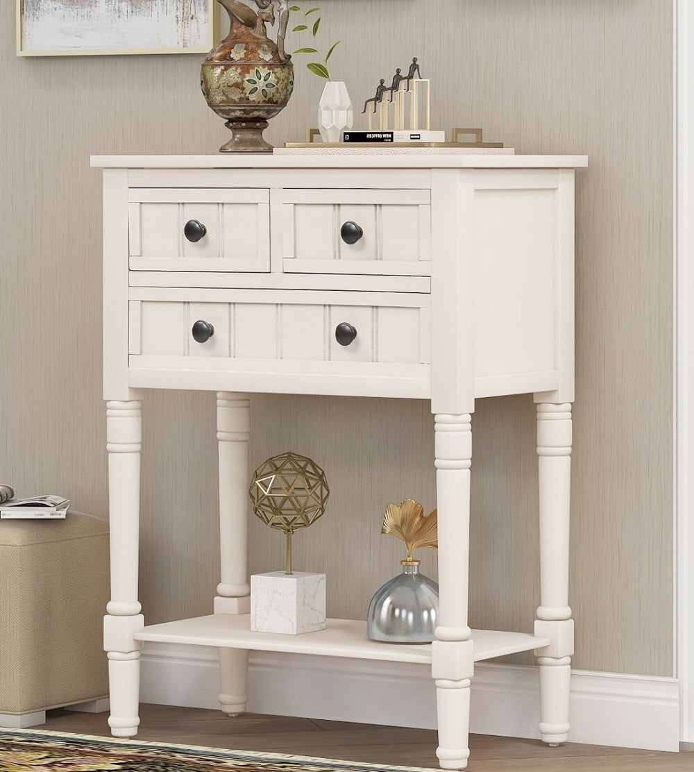 Console Table With Storage Segmart 23 Small Entryway Table With Drawers Wooden Console Table White Entry Table With Shelf Classic Sofa Table For Small Spaces Living Room Hallway Foyer Study H1057