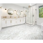 Armstrong Flooring 12x 24 Morning Dew- White Marble Look Vinyl Tile