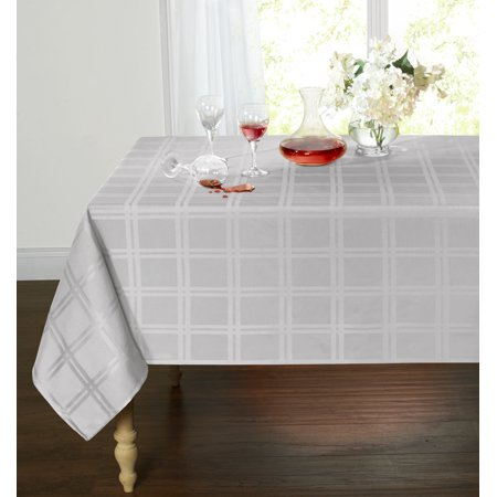 Spill Proof/Stain Resistant Plaid Tartan Fabric Tablecloth (60 in. W x 84 in. L, Gray) - Tartan Tablecloth