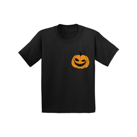 Awkward Styles Jack O'Lantern Pumpkin Shirt for Kids Halloween Pumpkin Pocket Shirt for Children Spooky Pumpkin Face Tee Cute and Easy Pumpkin Halloween Costume for Youth (Cute Easy Halloween Food)