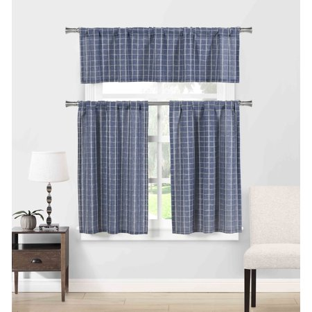 - Natural Cotton Blend 3 Piece Kitchen Window Curtain/Cafe Tiers Set: Plaid, 1 Valance, 2 Tier Panels (Navy)