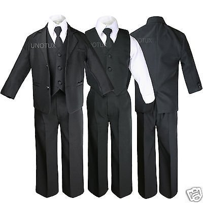 New Black Kid Teen Formal Wedding Party Prom Boy Suit Tuxedo Tie 5pc Set sz 5-20 - Prom Suit