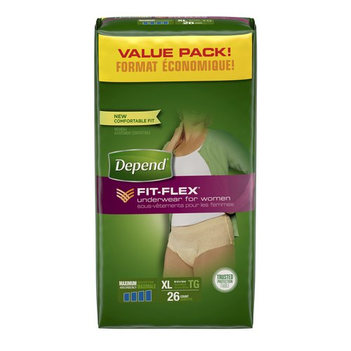 Depend FIT-FLEX Maximum Absorbency Incontinence Underwear for Women, XL, 26 count