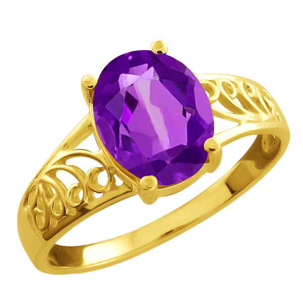 1.66 Ct Oval Purple Amethyst Gold Plated Sterling Silver Ring