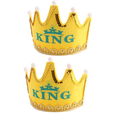 Birthday Party Crown Shaped King Letter Bead LED Light Cap Yellow 2 PCS