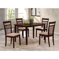 Benzara BM185657 Wooden Dining Set with Slatted Back Chairs, Brown - Pack of 5 - 29.53 x 29.53 x 47.24 in.