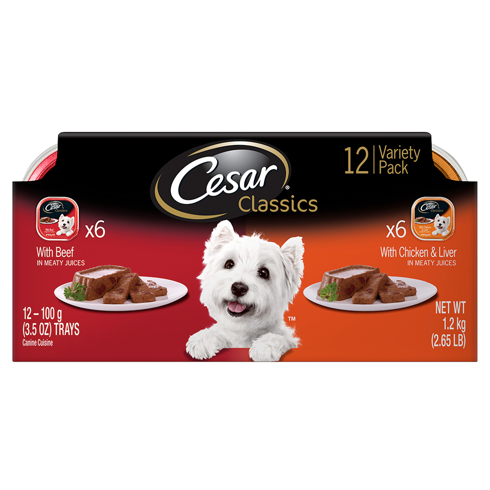 CESAR Canine Cuisine Variety Pack Beef and Chicken and Liver Dog Food Trays 3.5 Ounces 12-Count