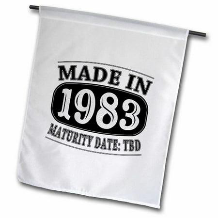 3dRose Made in 1983 Maturity Date TDB Polyester 1'6'' x 1' Garden - Halloween 1983 Date