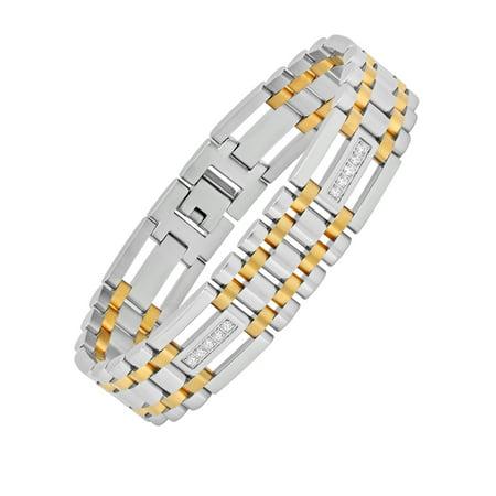 Cubic Zirconia Stainless Steel Bracelet (Men's Stainless Steel Cubic Zirconia Two-Tone Bracelet,)