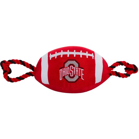 d7bd5b72005c6 NCAA Ohio State Buckeyes Strong, Durable, Chewable Football Dog Toy with  Inner Squeaker and Side Ropes, Officialy Licensed