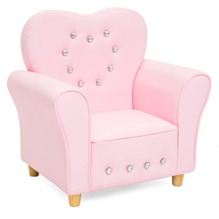 Best Choice Products Kids Heart-Shape Accent Chair Seat w/ Armrest and Rhinestones - Pink ()