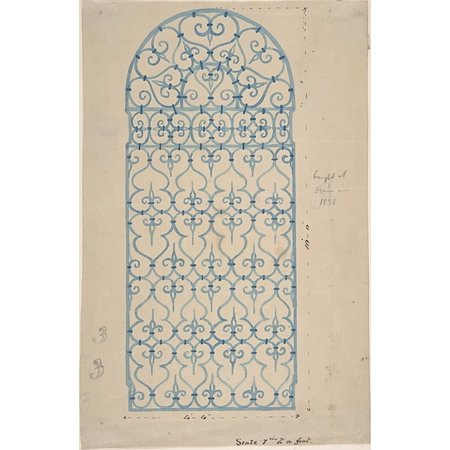 Wrought Iron Gate Design (recto) Sketches for Bracket (verso) Poster Print by Anonymous British 19th century (18 x 24)