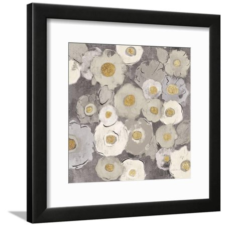 Bohemian Bouquet II Neutral Grey White Abstract Daisy Flowers Framed Print Wall Art By Silvia Vassileva