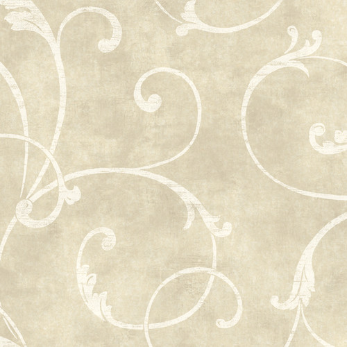 York Wallcoverings Natural Radiance Delicate 27' x 27'' Scroll Distressed Wallpaper