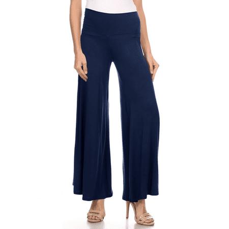 High Waisted Palazzo Pants Fold Over Flowy Trousers Stretch Lounge Pants - USA
