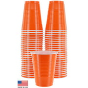 Amcrate Orange Colored 16-Ounce Disposable Plastic Party Cups - Ideal for Weddings, Party's, Birthdays, Dinners, Lunch's. (Pack of 50)