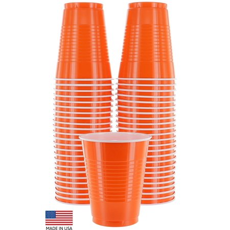 Birthday Party Cups (Amcrate Orange Colored 16-Ounce Disposable Plastic Party Cups - Ideal for Weddings, Party's, Birthdays, Dinners, Lunch's. (Pack of 50) )