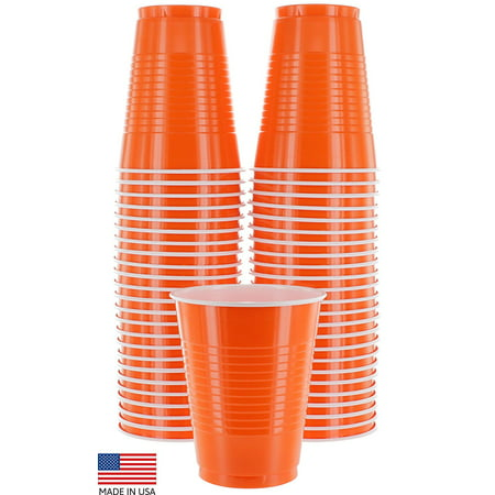 Amcrate Orange Colored 16-Ounce Disposable Plastic Party Cups - Ideal for Weddings, Party's, Birthdays, Dinners, Lunch's. (Pack of - Colored Plastic Cups