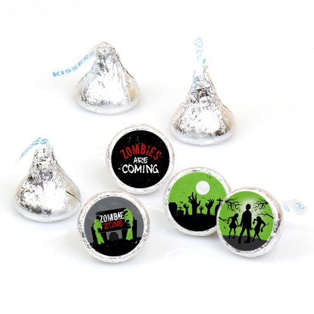 Zombie Zone - Halloween or Birthday Zombie Crawl Round Candy Sticker Favors - Labels Fit Hershey's Kisses 1 Sheet of 108 - Halloween Hershey