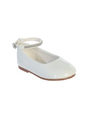 a94f50e726de Product Image Little Girls White Patent Rhinestone Encrsuted Ankle Strap  Flats