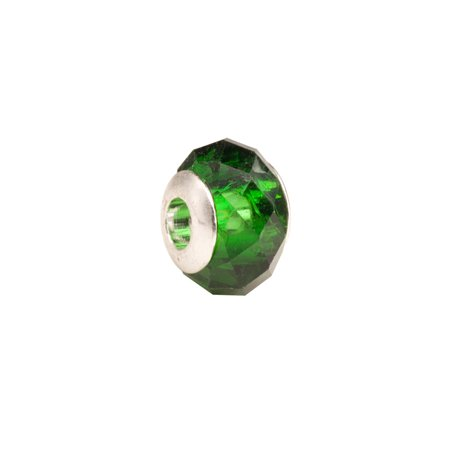 Forest Green Faceted Beauty Large Hole Beads Murano Lampwork European Glass Crystal Charms Beads Spacers Fit Pandora Troll Chamilia Carlo Biagi Zable Snake Chain Charm Bracelets 9.5x13.5mm 4pcs
