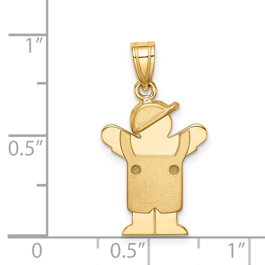 14K Yellow Gold Solid Engravable Boy in Overalls with Hat on Left Charm - image 1 of 2
