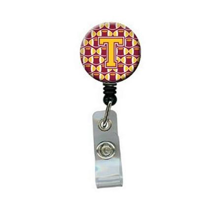Letter T Football Maroon & Gold Retractable Badge Reel - image 1 de 1