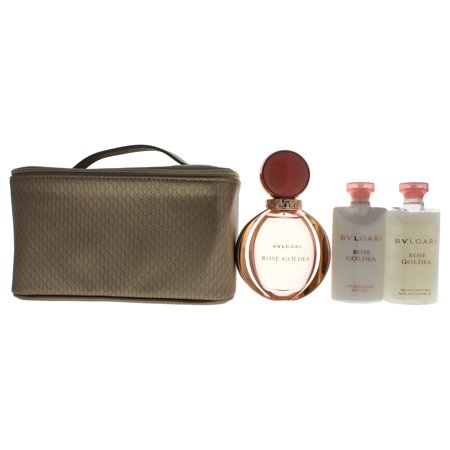 Bvlgari Rose Goldea 3.04oz Eau De Parfum Spray, 2.5oz Body Milk, 2.5oz Bath & Shower Gel, Beauty Pouch 4 Pc Gift Set ()
