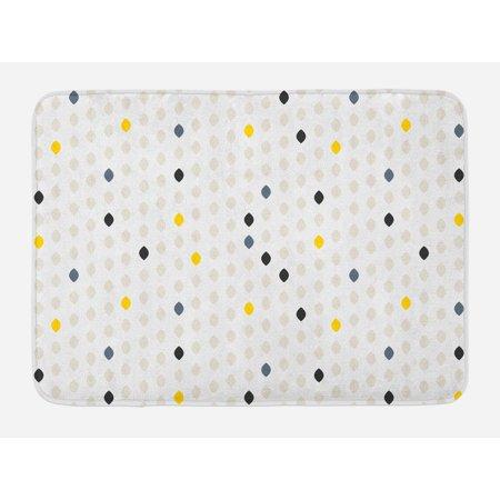 Modern Bath Mat, Modern Geometric Shapes Polka Dot Tear Drop Forms Pattern Graphic Art Print, Non-Slip Plush Mat Bathroom Kitchen Laundry Room Decor, 29.5 X 17.5 Inches, Grey White Yellow, (Tear Drop Shape)