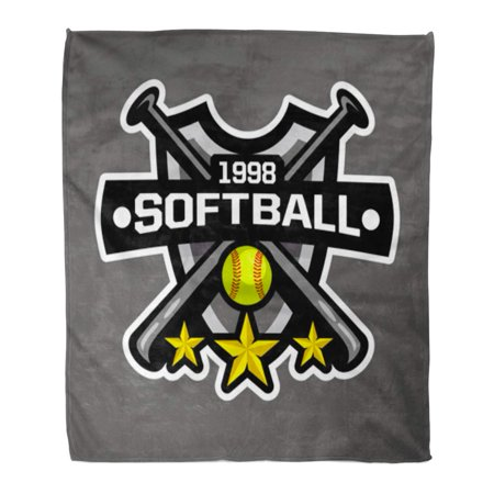 SIDONKU Flannel Throw Blanket Tournament Softball Sports Badge Team Athletic Champion Championship College Soft for Bed Sofa and Couch 58x80