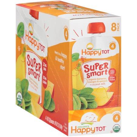 Happy Tot Organics Super Smart Bananas, Mangos & Spinach + Coconut Milk Fruit & Veggie Blend 8-4 oz. Pouches ()