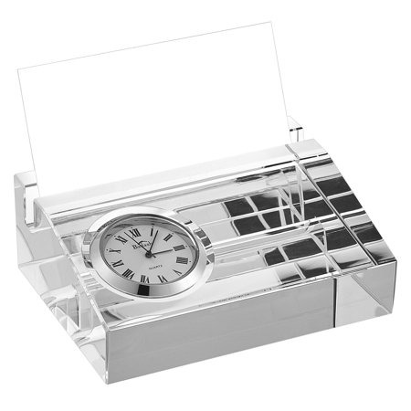 (D) Crystal Business Card Holder with Inlaid Clock ()