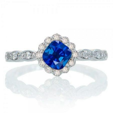 1.25 Carat Cushion Cut Classic Flower Design Antique Sapphire and Diamond Engagement Ring