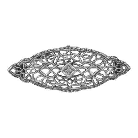 Antique Victorian Style Diamond Filigree Pin / Brooch Sterling Silver Sterling Silver Filigree Brooch
