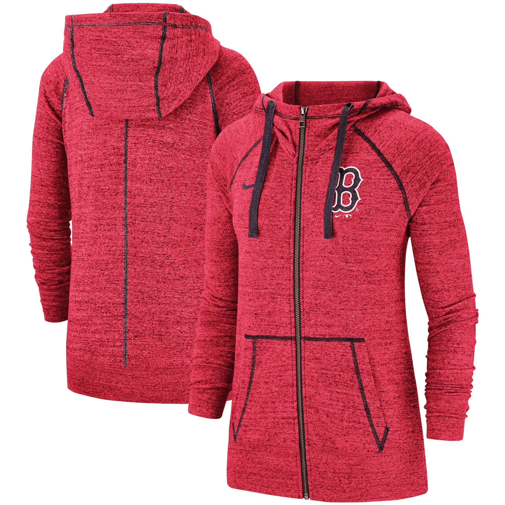 Boston Red Sox Nike Women's Gym Vintage Team Full-Zip Hoodie - Heathered Red
