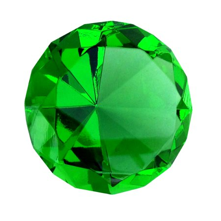 Optical Crystal Diamond Paperweight - Big 60mm Emerald Green 60 mm Cut Glass Crystal Giant Diamond Jewel Paperweight