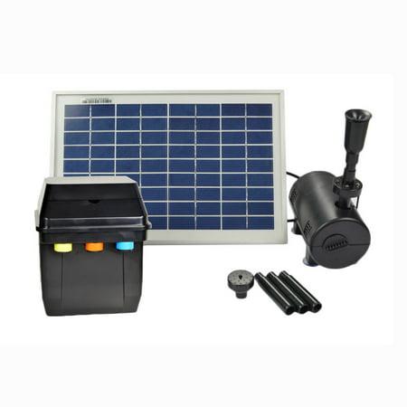ASC 8 Watt Solar Powered Water Pump W Battery Timer Control And LED Winter