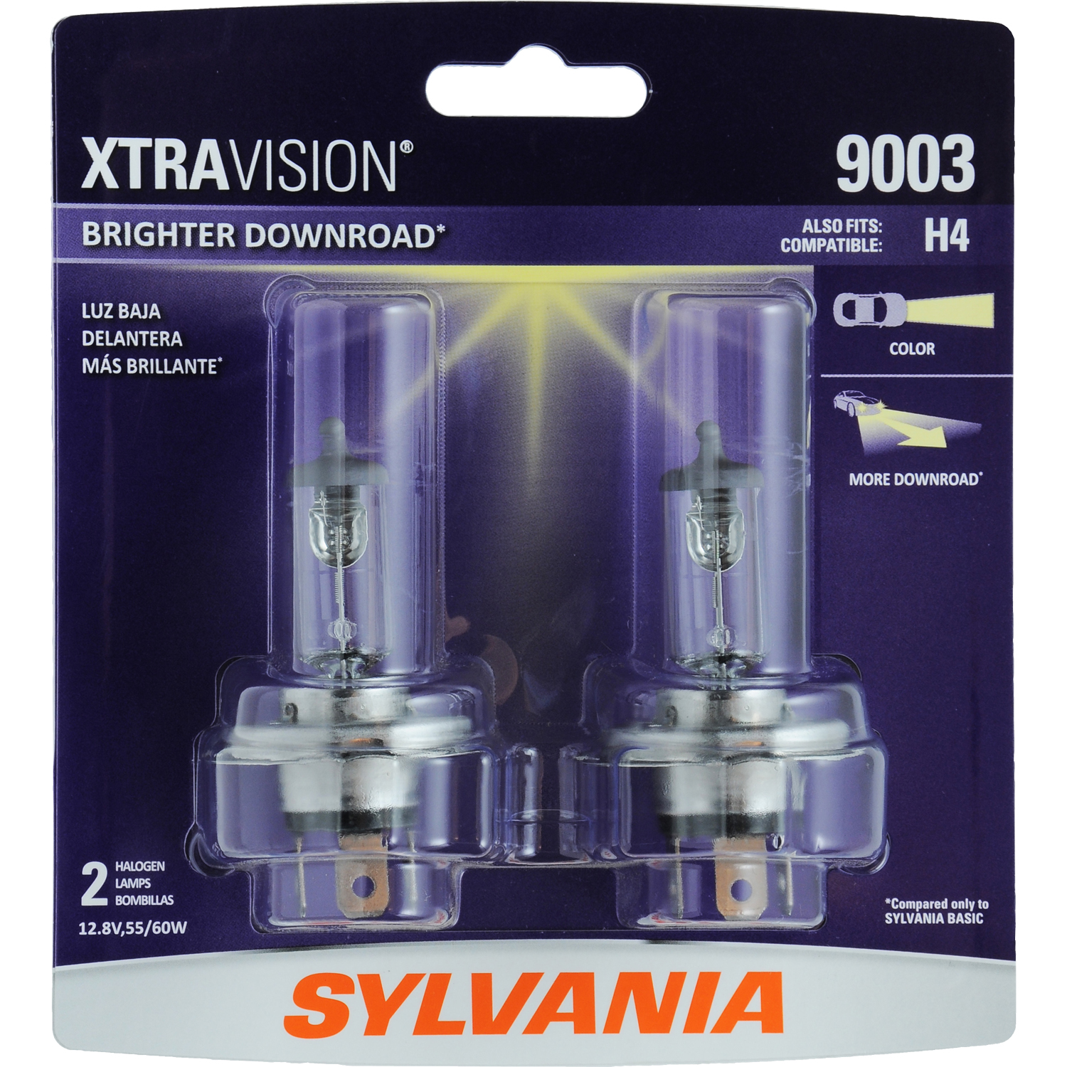 SYLVANIA 9003 XtraVision Halogen Headlight Bulb, Pack of 2