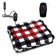 Zone Tech Car Heated Travel Blanket  Black and White 12V Automotive Comfortable Heating Car Seat Blanket Great for Winter