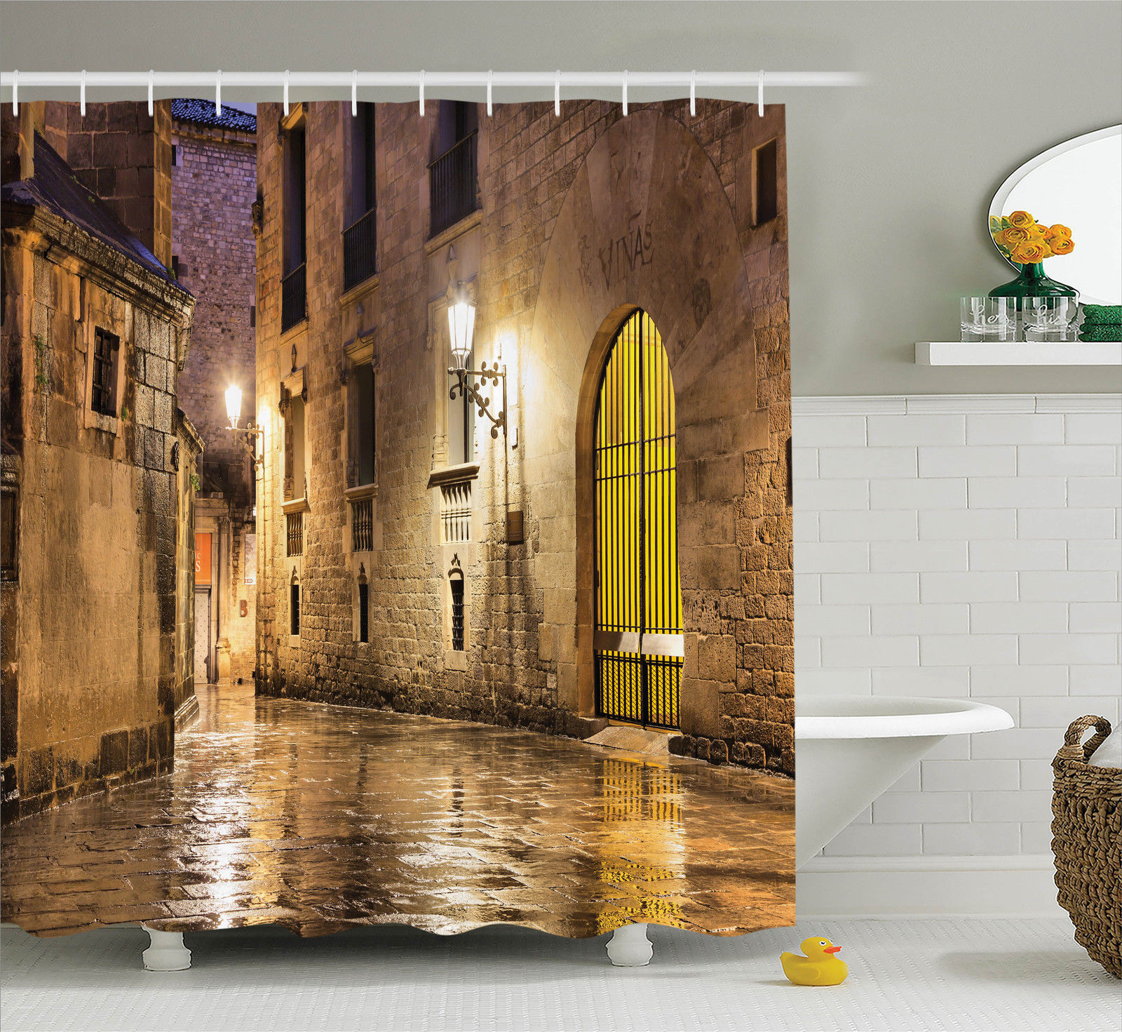 Gothic Decor  Gothic Ancient Stone Quarter Of Barcelona Spain Renaissance Heritage Gothic Night Street Photo, Bathroom Accessories, 69W X 84L Inches Extra Long, By Ambesonne