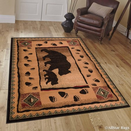 Brown Mama Bear With Cub With Paw Prints Area Rug 3 9 Quot X