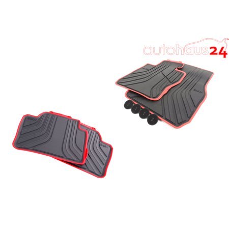 BMW 3 SERIES F30 RUBBER ALL WEATHER FLOOR MATS FRONT & REAR BLACK/RED SPORT AWD ()